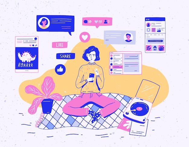 Menina sentada em casa, segurando um telefone celular e conversando ou recebendo feedback na rede social