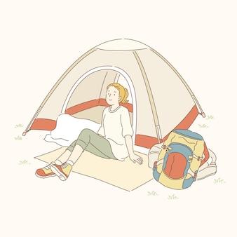 Menina sentada em frente a uma barraca de camping, estilo de linha de arte
