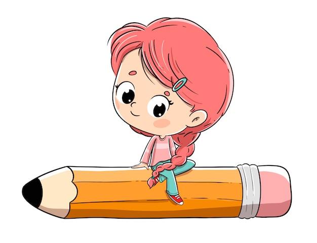 Menina sentada em lápis grande. ela tem uma trança e cabelos ruivos.