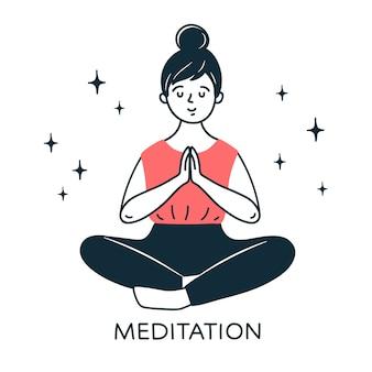 Menina sentada em posição de lótus e meditando. imagem desenhada em estilo doodle