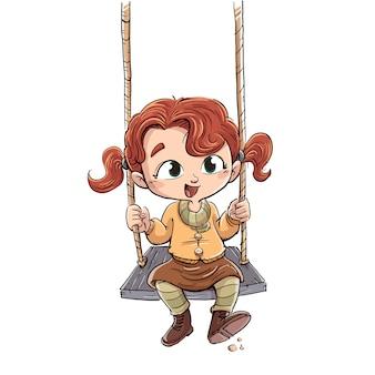 Menina sentada jogando em um balanço