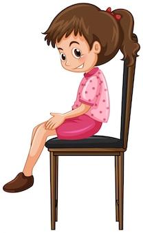 Menina sentada na cadeira grande