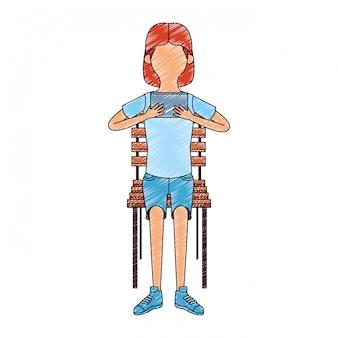 Menina sentada na cadeira usando videogame portátil
