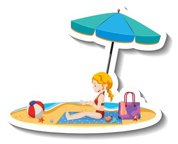 Menina sentada na esteira de praia com objetos de praia de verão