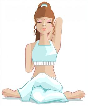Menina sentada no yoga pose gomukhasana. postura de cabeça de vaca