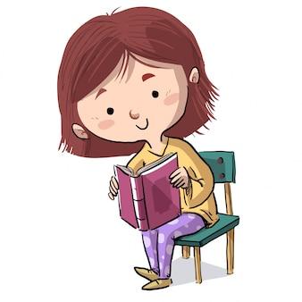 Menina, sentando, ligado, um, cadeira, lendo um livro