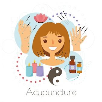 Menina sessão de acupuntura