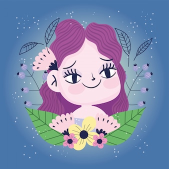 Menina sorridente com flores deixa botânica natureza