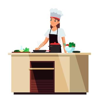 Menina sorridente cozinheira de uniforme preparando comida