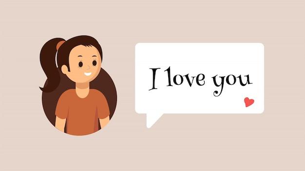 Menina sorridente dos desenhos animados usando o messenger