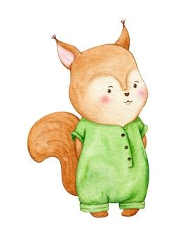 Menina sorridente esquilo em um macacão verde. animal da floresta para o projeto de crianças. aquarela ilustração isolado.