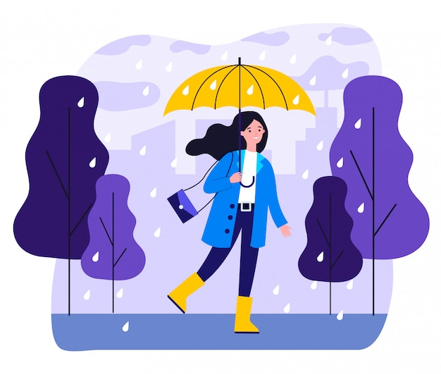 Menina sorridente feliz com guarda-chuva andando em dia chuvoso