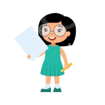 Menina sorridente segurando uma ilustração de folha de papel vazia