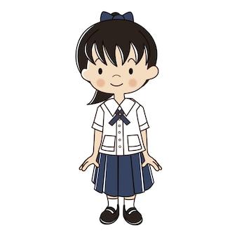 Menina tailandesa na ilustração de uniforme de estudante.