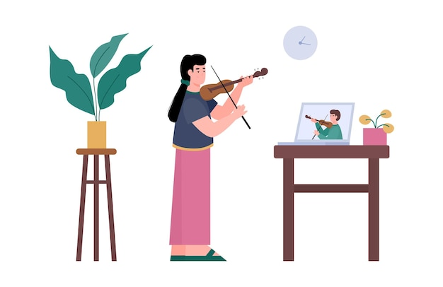 Menina tendo um vídeo tutorial para tocar instrumento musical aula online de violino de música