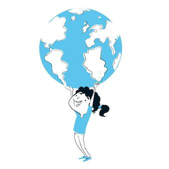 Menina, tocando, com, a, terra planeta
