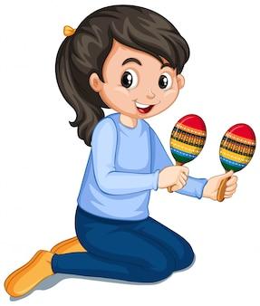 Menina tocando maracas em branco