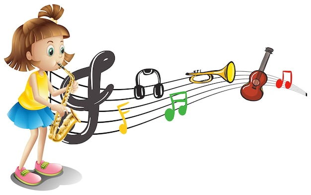 Menina tocando saxofone com notas musicais ao fundo
