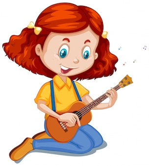 Menina tocando ukulele em branco