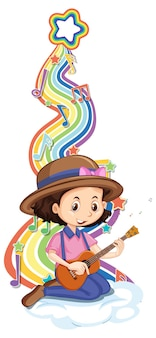 Menina tocando violão com símbolos de melodia na onda do arco-íris