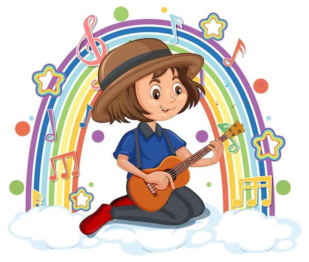 Menina tocando violão com símbolos de melodia no arco-íris