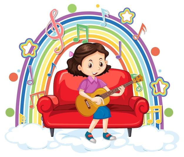 Menina tocando violão na nuvem com arco-íris