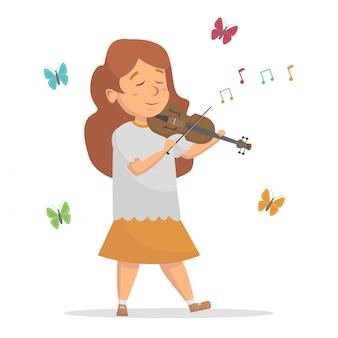 Menina tocando violino com conceito de ilustração vetorial de fundo de borboleta