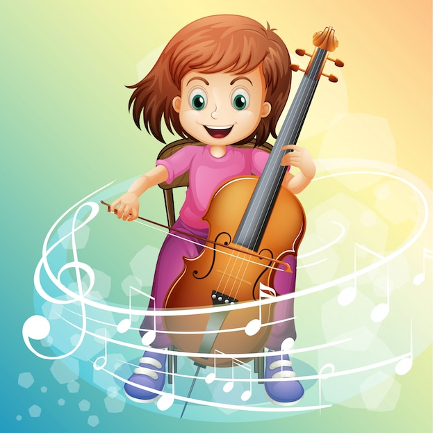 Menina tocando violoncelo na cadeira