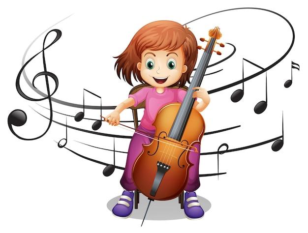 Menina tocando violoncelo sozinha