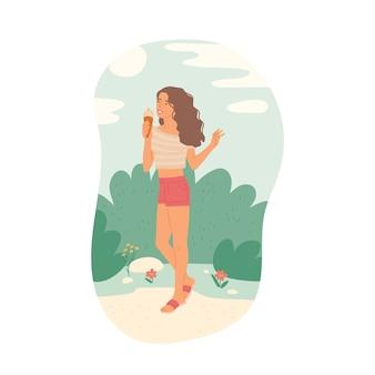 Menina toma sorvete com roupas de verão no fundo da paisagem. ilustração plana dos desenhos animados.