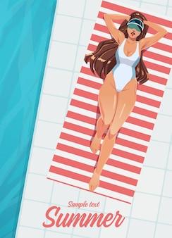 Menina tomando banho de sol em uma esteira perto da piscina. pôster de férias de verão