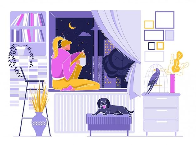 Menina tomando café quente perto da janela, céu noturno