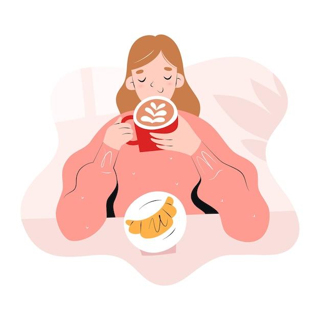 Menina tomando café