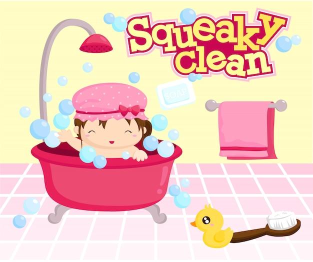 Menina tomar banho