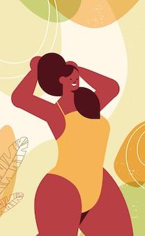 Menina tonificada de biquíni bela mulher em pé pose amo seu corpo conceito retrato ilustração vetorial vertical