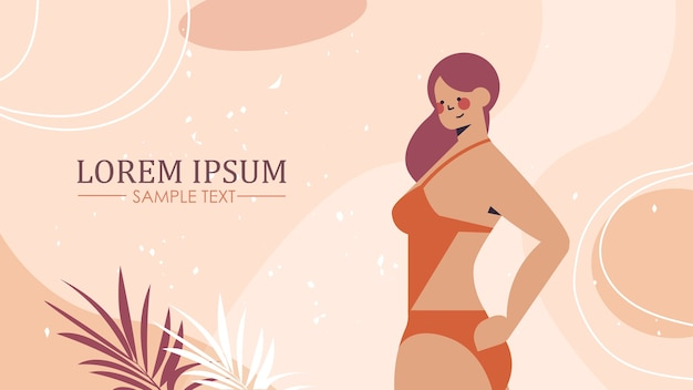 Menina tonificada em roupa íntima bela mulher em pé pose amo seu corpo conceito cópia horizontal espaço ilustração vetorial