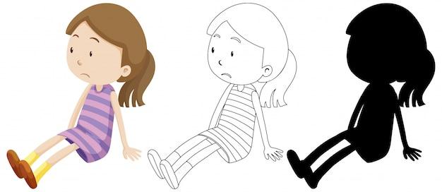 Menina triste com seu contorno e silhueta