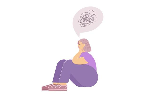 Menina triste com transtorno de ansiedade está sentada e uma nuvem chorando com uma corda enrolada acima dela.