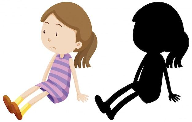 Menina triste decepcionada com sua silhueta