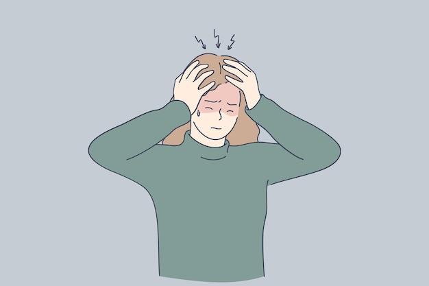 Menina triste deprimida e estressada tocando a cabeça com os dedos