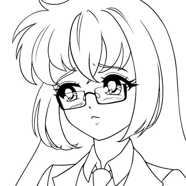 Menina triste do anime usando óculos.