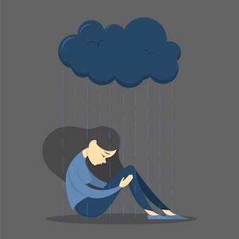 Menina triste em depressão. mulher triste. luto