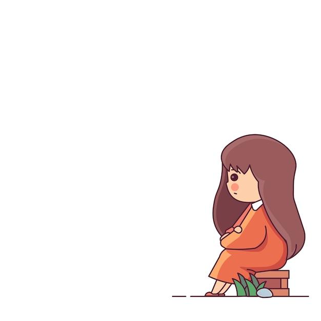 Menina triste, esperando, sentado a caixa de madeira personagem ilustração em vetor