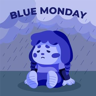 Menina triste na segunda-feira azul