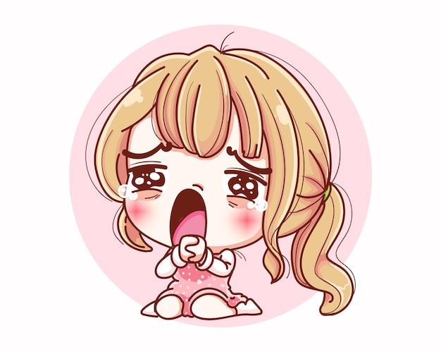 Menina triste sentindo pena e design de personagens de desenhos animados.