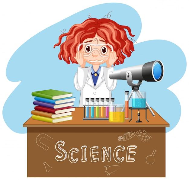 Menina triste, trabalhando no laboratório de ciências