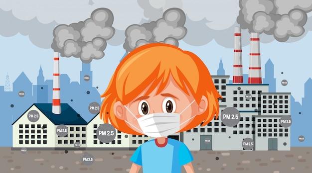 Menina triste usando máscara em pé na frente de edifícios da fábrica