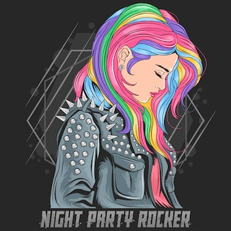 Menina unicórnio cor completo cabelo com estilo punker jacket rocker