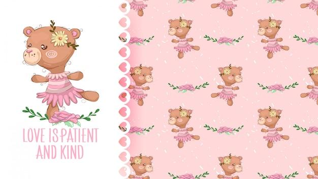 Menina urso bonito dos desenhos animados com flor