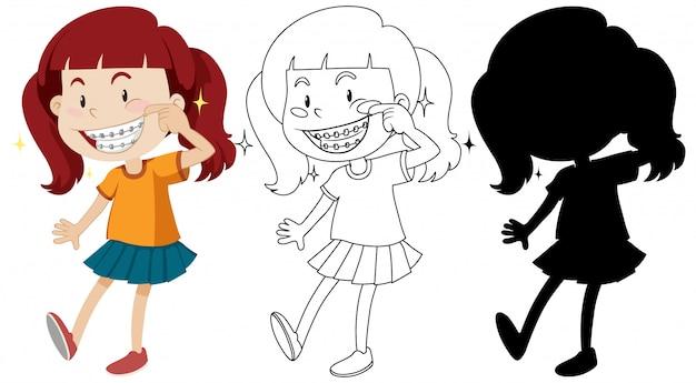 Menina usando aparelho dentário com seu contorno e silhueta